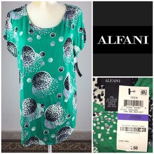Alfani Polka Dot Green Tunic Rayon Scoop Hem